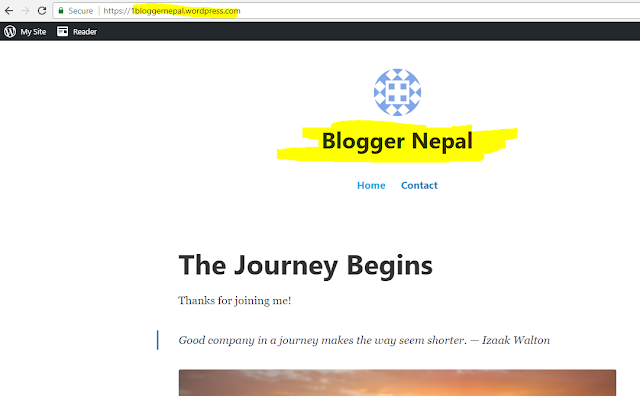 Create your first blog in Wordpress-- starting page