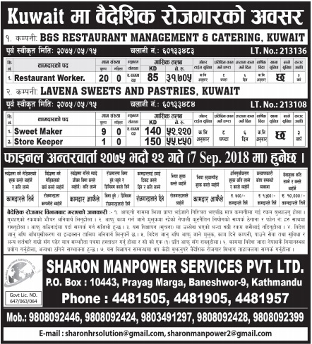 Jobs for Nepalese: Jobs in Kuwait for Nepali Salary upto RS
