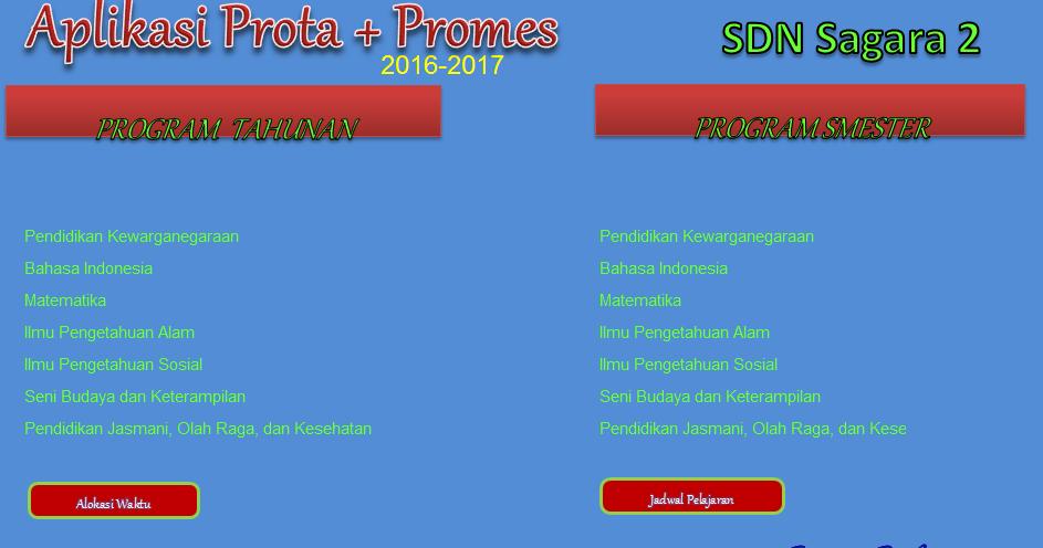Aplikasi Pembuatan Prota Dan Promes Sd Format Excel Guru Penting
