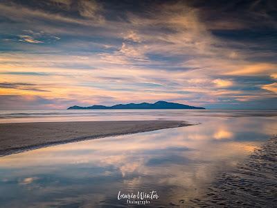 New Zealand, NZ, Wellington, Sunset, Sunrise, Kapiti Island, Reflections, Raumati, Raumati Beach