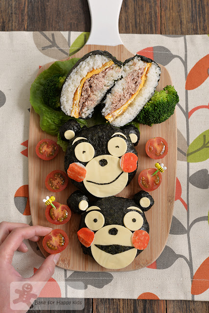 kumamon tuna omelette rice burger