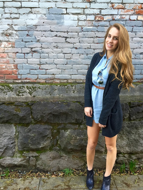 Brunch outfit of the day: how to style a chambray dress and booties