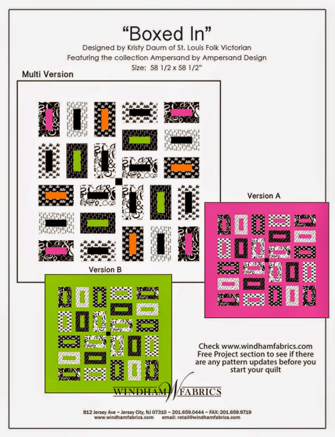BOXED IN Quilt Pattern // Kristy Daum for Windham Fabrics