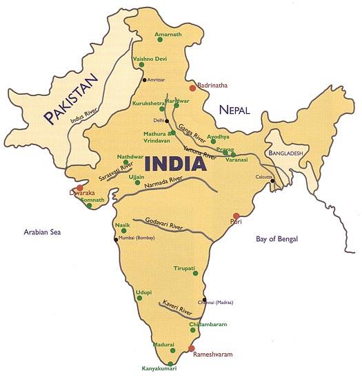 Radha Krishna Land: Map of some holy places around India