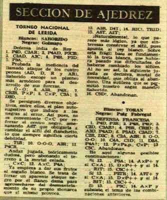 I Torneo Nacional de Ajedrez de Lérida 1948, Partidas de ajedrez en la revista Destino