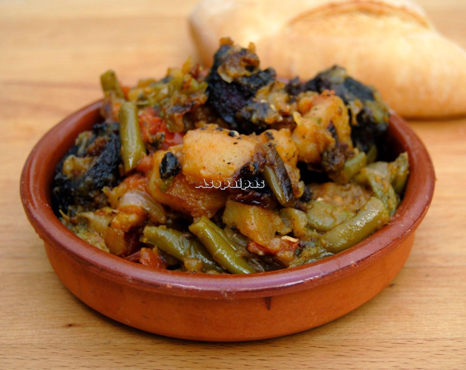 Olla Frita de verduras con Morcilla de Santiago de la Espada