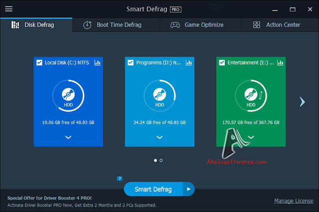 IObit Smart Defrag Pro is a great Disk Defragmenter, that accelerates the whole system with fast and efficient disk defragment.