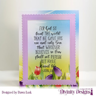 Divinity Designs Stamp Set: John 3:16, Paper Collection: Spring Flowers 2019, Custom Dies: Scalloped Rectangles, Rectangles