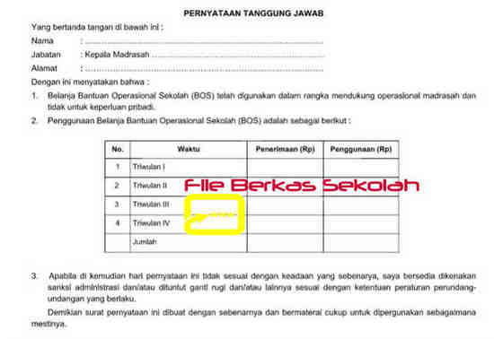 Download Formulir BOS K8 Madrasah
