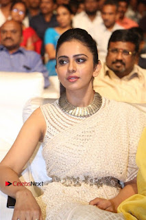 Actress Rakul Preet Singh Stills in White Dress at Winner Pre Release Function  0030.jpg