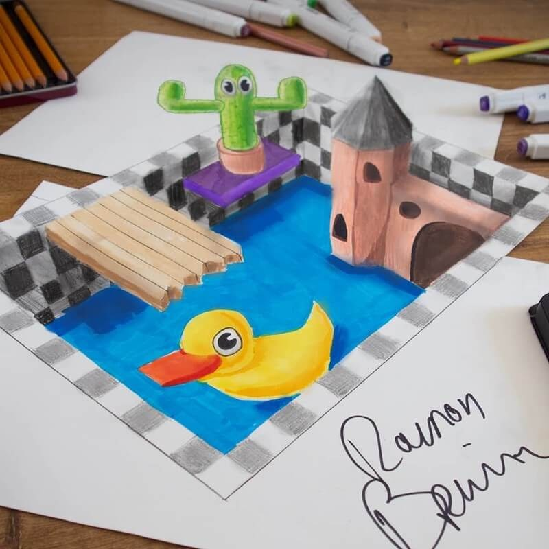 11-Duck-and-Castle-Ramon-Bruin-Assortment-of-3D-Drawings-www-designstack-co