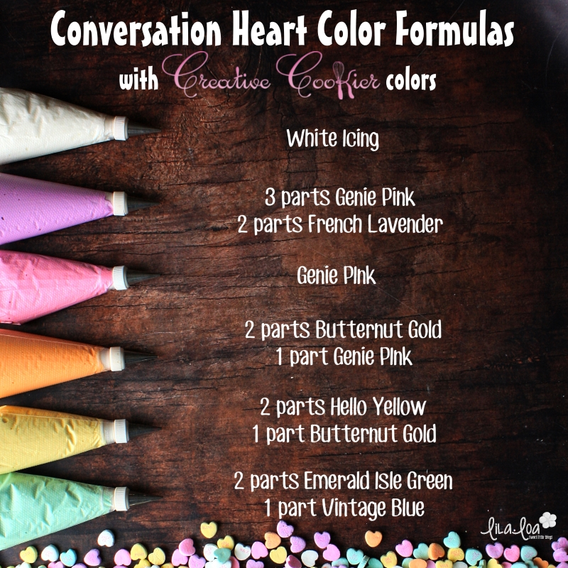 Creative Cookier food coloring color formulas for making conversation heart icing colors