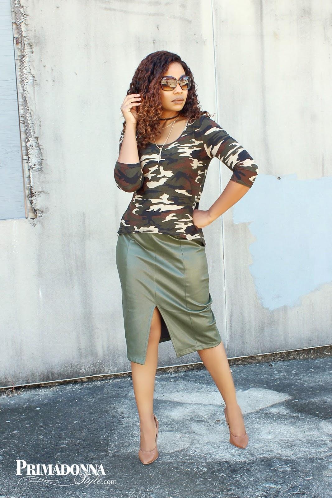 primadonna style faux leather split front pencil skirt