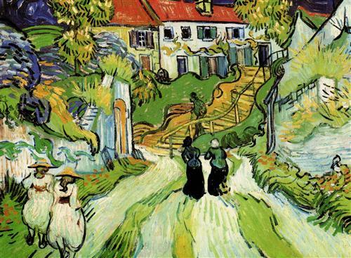Pintura de Van Gogh - Village Street and Step -s Rua em primeiro plano, escada em que um idoso com uma bengala, desce. Castanheiras em flor, mulheres caminham.