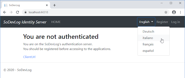 Secure Token Service - Server d'authentification pour application Web - Page d'Accueil