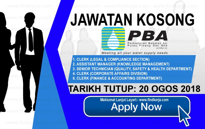 Jawatan Kerja Kosong PBAPP - Perbadanan Bekalan Air Pulau Pinang logo www.findkerja.com www.ohjob.info ogos 2018