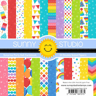 Sunny Studio Stamps: Surprise Party 6x6 Double-Sided Patterned Paper Pack - 24 Sheets