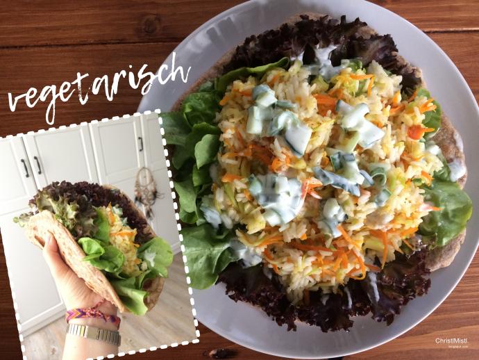Rezept für einen vegetarischen Döner aus Wrap, Zucchini, Möhren, Reis, Salat, Joghurt, Gurke