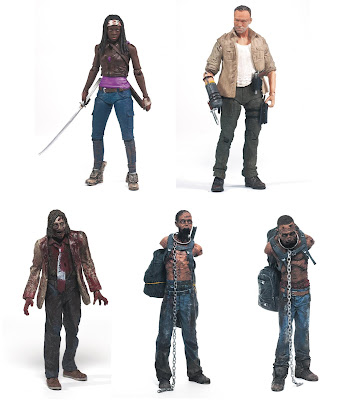 The Walking Dead Television Series 3 Action Figures by McFarlane Toys - Michonne, Merle Dixon, Autopsy Zombie, Michonne's Zombie Pet 1 & Michonne's Zombie Pet 2