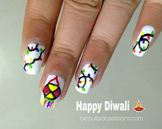 Nailart Inspired by Diwali Light Decoration | Diwali Nailart #1