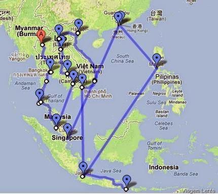 Uma sugestão de roteiro para uma viagem lenta no Sudeste Asiático (Vietnã, Laos e Camboja) e demais países da região.