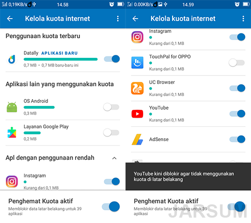 melihat penggunaan data pada aplikasi