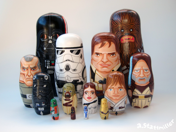 Green Pear Diaries, ilustraciones, matrioskas, Andy Stattmiller, Matryoshka Mania, Star Wars