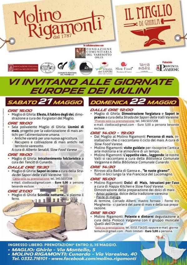 Giornata Europea dei Mulini 21 e 22 Maggio Cunardo (VA)