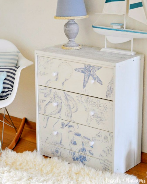 Ikea Rast Chest Hacking with Coastal Sea Life Images Transferred with Chalk Paint