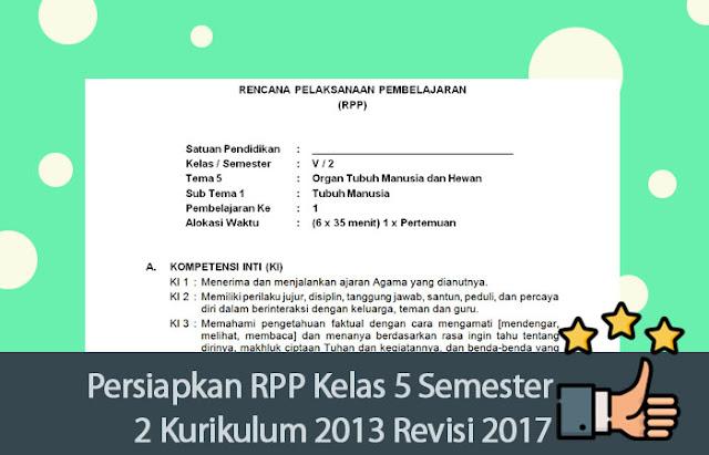 RPP Kelas 5 Semester 2 Kurikulum 2013 Revisi 2017