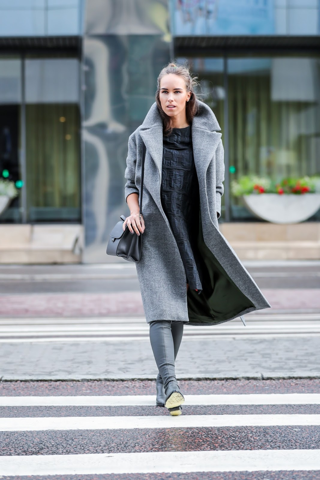 gray wool coat over knee boots fall winter outfit