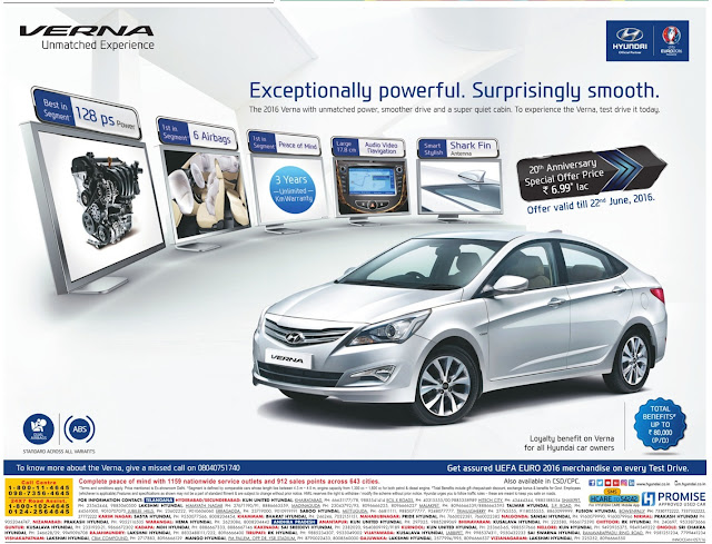 Hyundai Verna - Total Benefits up to Rs 80,000   June 2016 discount offer