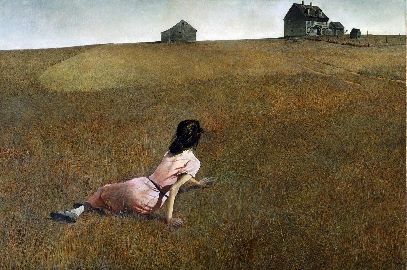 Cuadro de Andrew Wyeth, Christina´s World, que representa a una mujer recostada en la hierba mirando hacia una casa