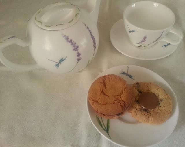 White Tea Set with Dragonflies