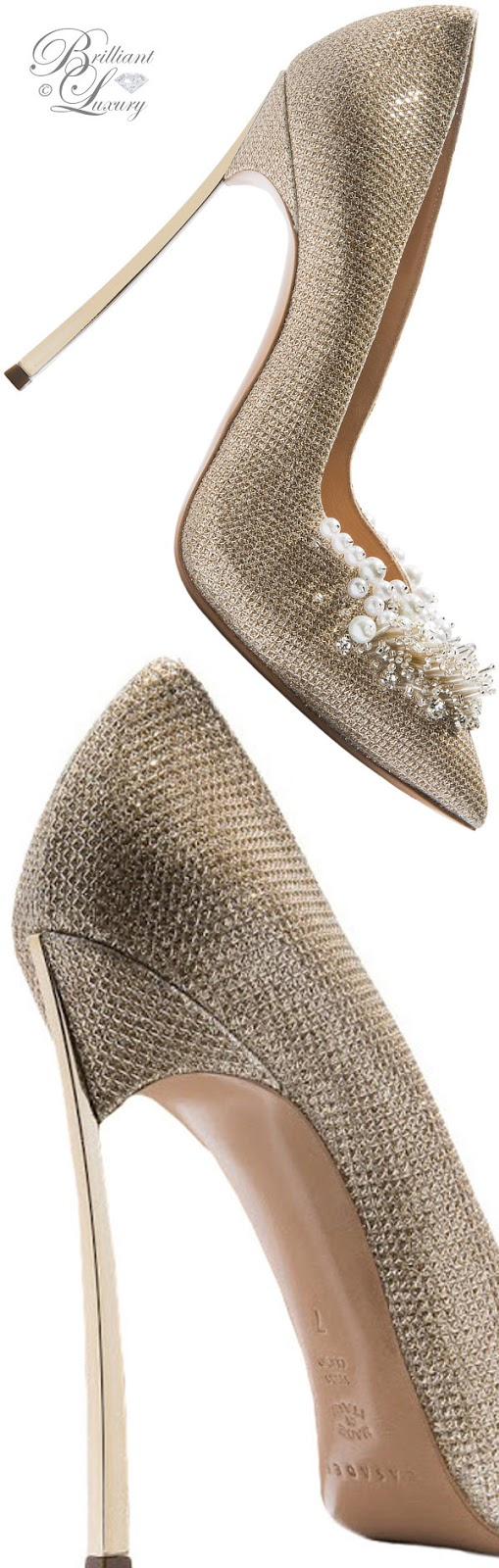 Brilliant Luxury ♦ Fall in ~ Casadei Blade high heels in gold with strass ornament