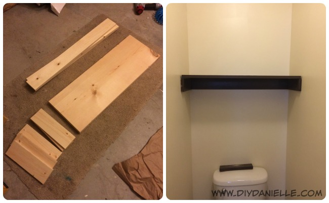 Our bathroom shelving being installed.