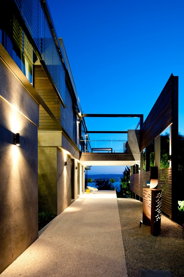 Lights on the facade of modern home