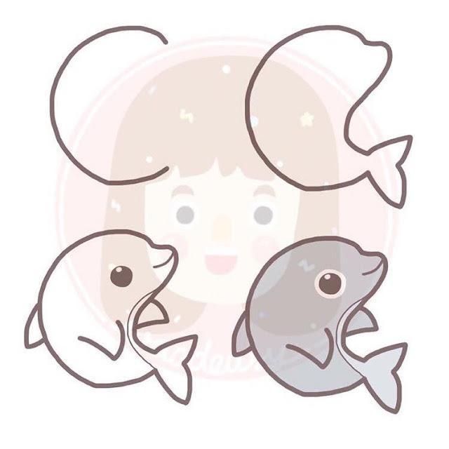 Cara menggambar Lumba-lumba untuk anak-anak