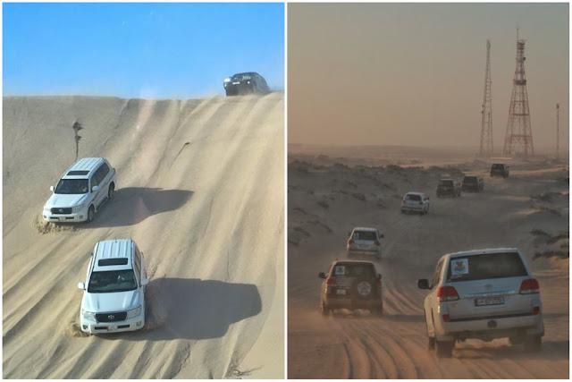 El magnífico Khor Al-Adaid o el Mar Interior de Qatar. Convoy en las dunas del desierto