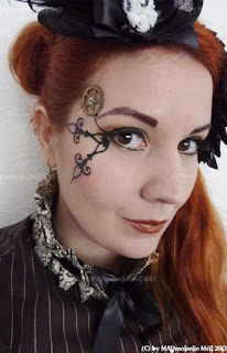 steampunk special fx makeup. add clock hands to your eyes. diy tutorial for men and women.