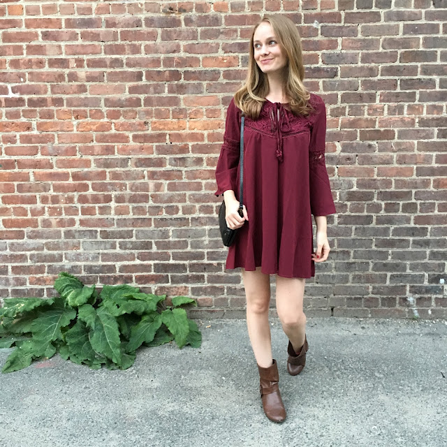 Burgundy Dress with Bell Sleeves fall shein