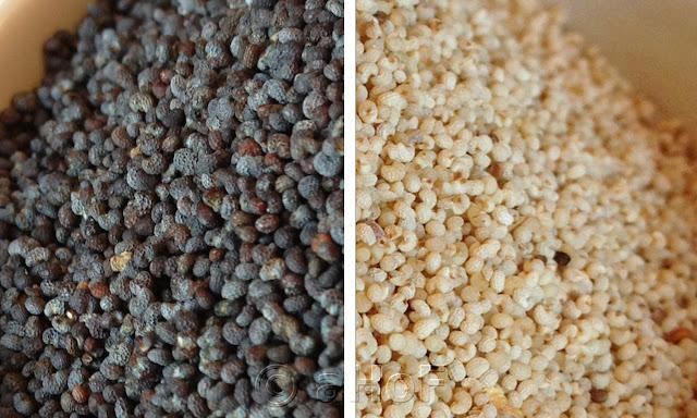 "Black (""Blue"") Poppy Seeds left and White Poppy Seeds right"