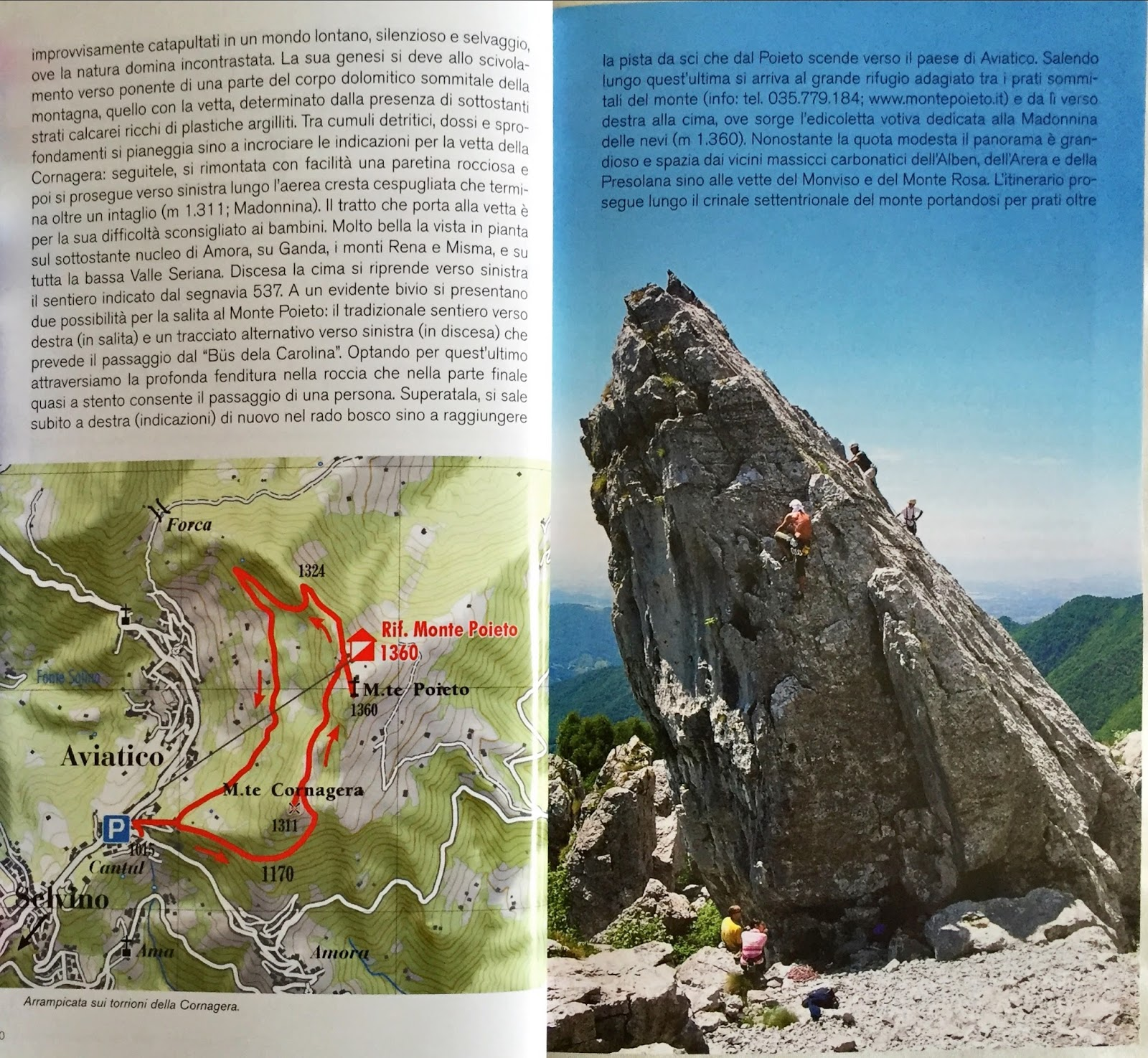 Page from the Escursionismo nelle valli bergamasche book, hike #9, showing a suggested route.