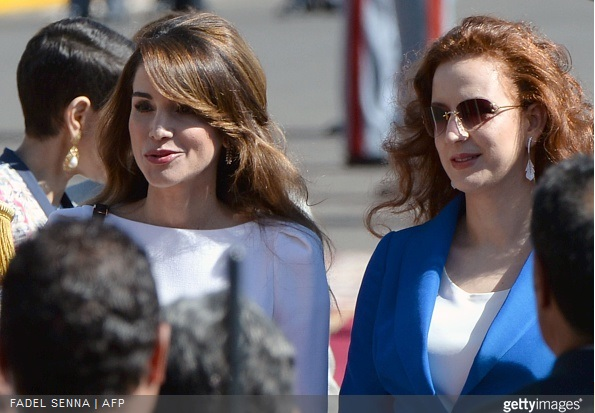 Jordan's Queen Rania and Morocco's Princess Lalla Salma attend a welcome ceremony for Jordanian at the Royal Palace in the Moroccan city of Casablanca