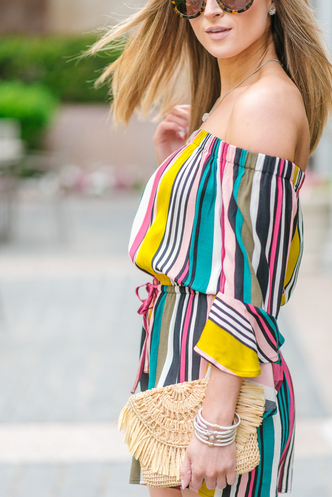 Express striped off the shoulder bell sleeve romper