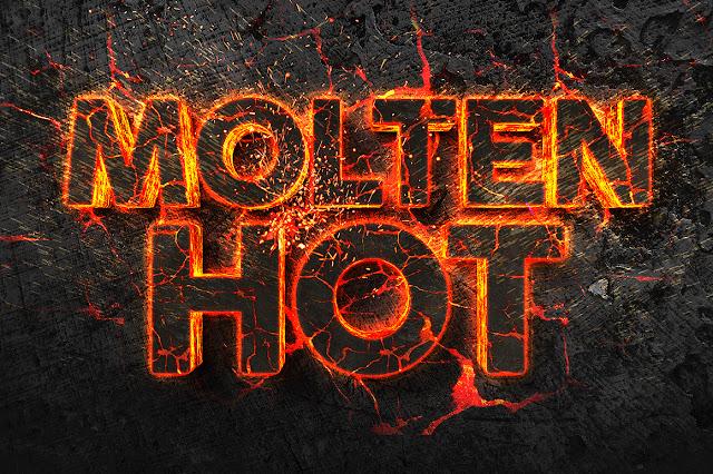 Plantilla para crear texto con efecto de fuego y lava para Photoshop