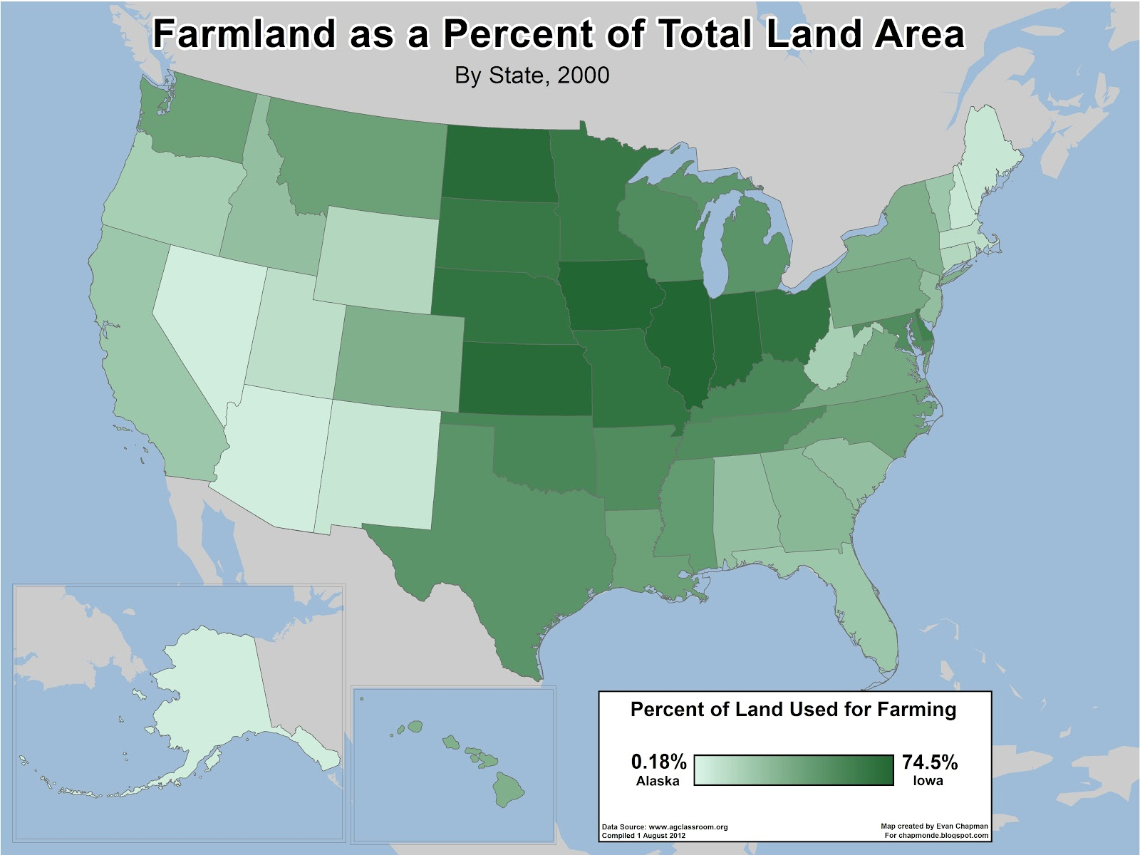 land use in the united states agriculture | evan's map blog