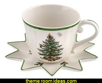 Christmas Tree Jumbo Cup with Star-Shaped Saucer