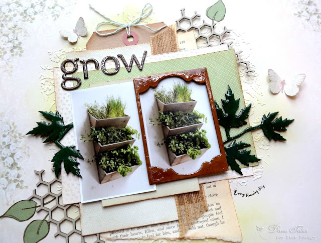 Herb Garden Scrapbook Layout Featuring Inked and Glazed Chipboard by Dana Tatar