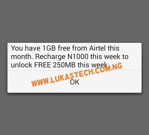 1GB Free Data on Airtel